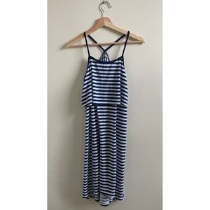 💟H&M Navy and White Stripped Flouncy Maxi Dress